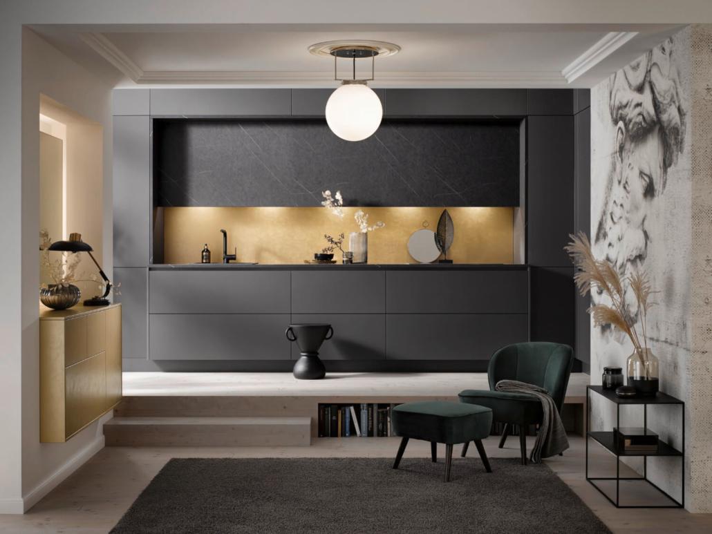 Küche Grifflos Graphit / Gold